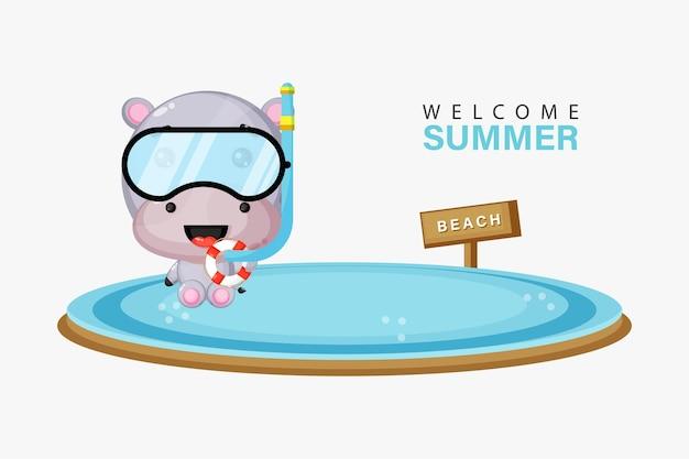 Hippopotame mignon nageant sur la plage avec des salutations d'été