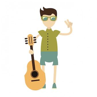 Hipster boy avec guitare acoustique