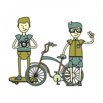 Hipster boys avec accessoires rétro
