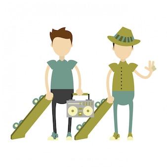 Hipster boys avec des planches à roulettes vertes