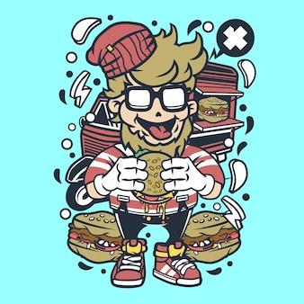 Hipster burger cartoon