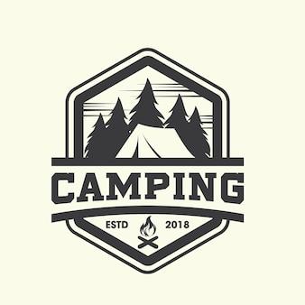 Hipster camping logo vecteur