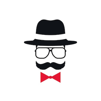 Hipster en chapeau, lunettes et noeud papillon rouge. portrait d'homme avec moustache. illustration vectorielle.