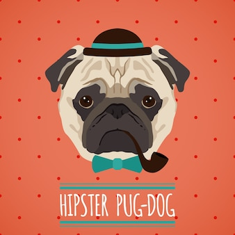 Hipster, chien pug, chapeau, pipe, bow, cravate, portrait, ruban, affiche, vecteur, illustration