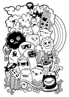 Hipster dessinés à la main crazy doodle groupe de monstres, style de dessin.