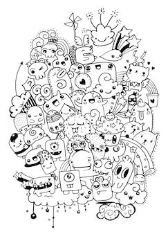 Hipster dessinés à la main crazy doodle monster city