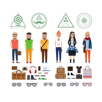 Hipster filles et garçons avec accessoires