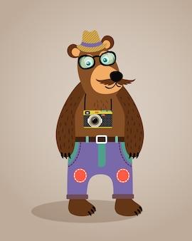 Hipster geek animal ours en peluche avec des lunettes moustache et caméra illustration vectorielle