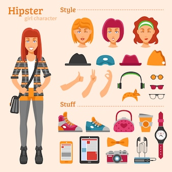 Hipster girl character set d'icônes décoratives