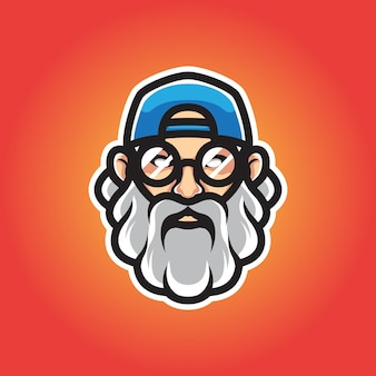 Hipster homme tête mascotte logo