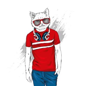 Hipster avec illustration de tête de chat