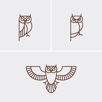 Hipster linear owl logo