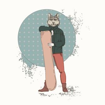 Hipster de loup de bande dessinée