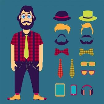 Hipster personnage masculin avec des éléments de hipster et des icônes.