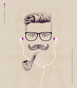Hipster avec une pipe et des écouteurs