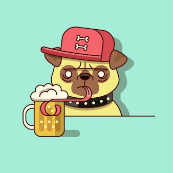Hipster pug drinking beer