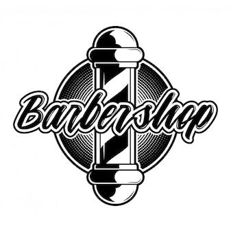 Hipster rétro élégant design graphique personnalisé vintage gravure icône du logo barbier salon icône de panneau blanc noir avec poteau de coiffeur. illustration de style moderne sur fond gris texture ancienne.