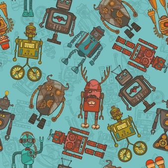 Hipster robot couleur seamless pattern
