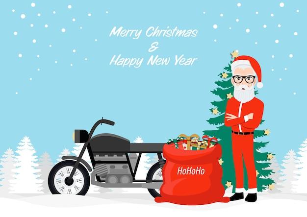 Hipster santa claus et moto avec design de personnage de dessin animé