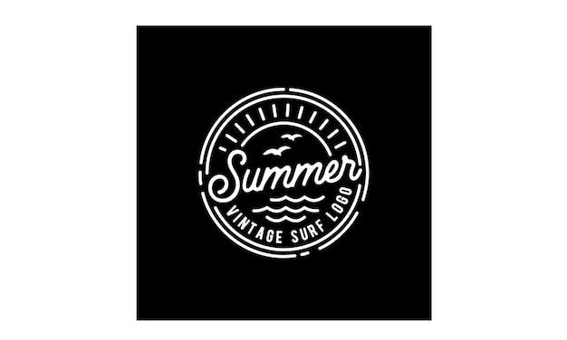 Hipster stamp surf logo design