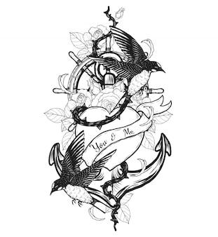 Hirondelles avec tatouage de vecteur de coeur à la main dessin