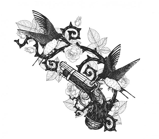 Hirondelles avec tatouage de vecteur de pistolet pirate à la main dessin