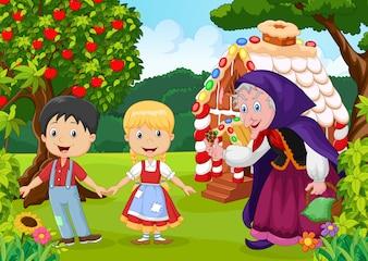 Histoire classique des enfants. Hansel et Gretel avec hag