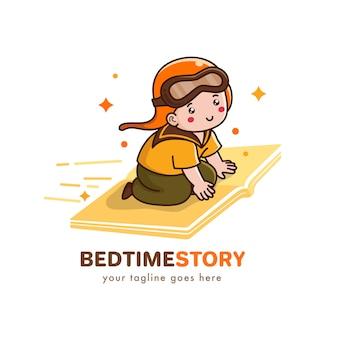 Histoire du coucher pour le logo de l'enfant
