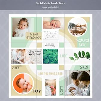 Histoire de la famille et des enfants sur les médias sociaux instagram