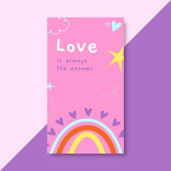 Histoire instagram d'amour colorée dessinée à la main