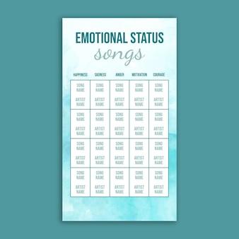 Histoire d'instagram de bingo de chanson de statut émotionnel