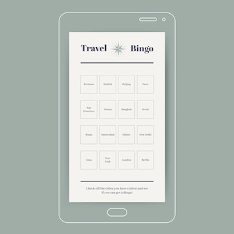 Histoire instagram de bingo de villes de voyage élégantes