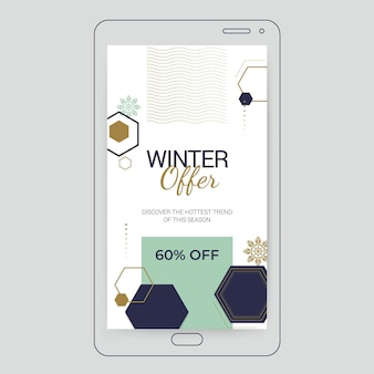 Histoire instagram élégante géométrique de l'hiver