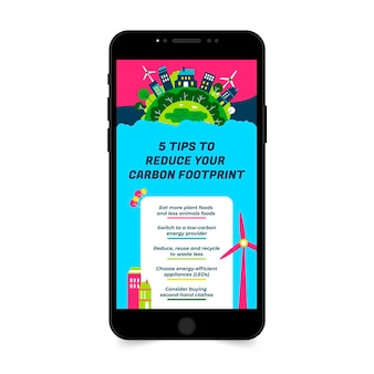 Histoire d'instagram de l'environnement de réduction de co2 coloré créatif