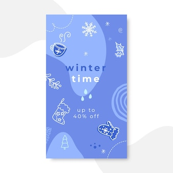 Histoire instagram d'hiver monochrome de doodle