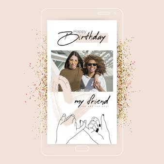 Histoire instagram minimaliste joyeux anniversaire
