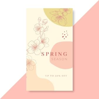 Histoire instagram de printemps réaliste dessinée à la main