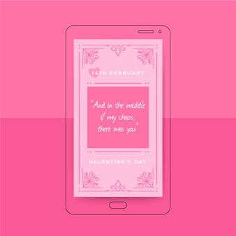 Histoire instagram de la saint-valentin monochrome ornementale