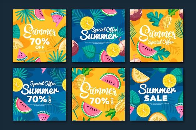 Histoire instagram de ventes d'été de modèle coloré