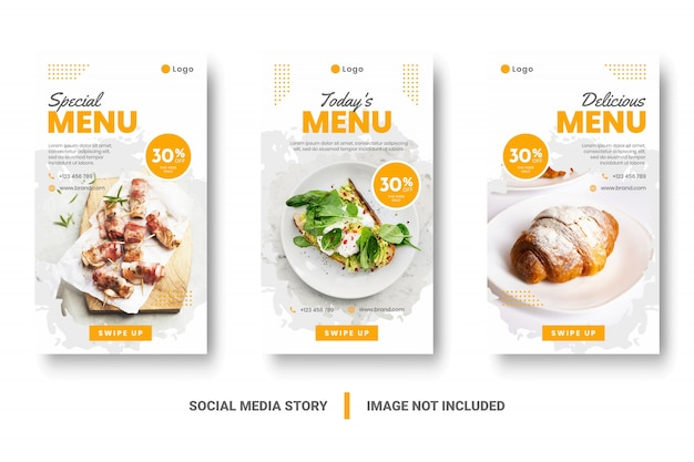 Histoire de médias sociaux de bannière de menu de nourriture.