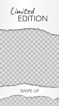 Histoire de papier déchiré. rebuts de papier en édition limitée, balayez le modèle d'histoire des médias sociaux. cadre réseau endommagé pour boutique ou blogueur. mise en page pour la promotion, illustration vectorielle marketing