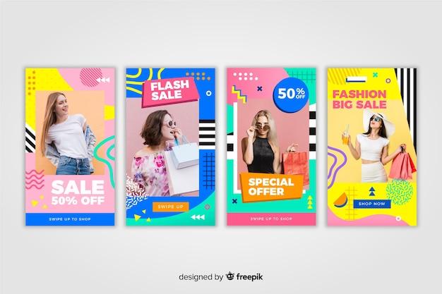 Histoires abstraites colorées de vente avec instagram