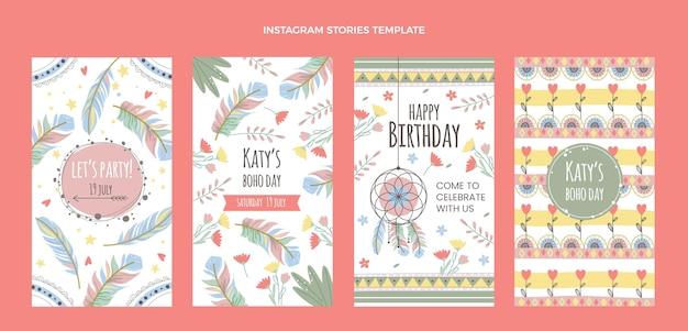 Histoires d'anniversaire boho dessinées à la main