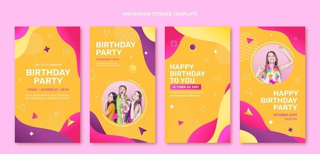 Histoires d'anniversaire colorées dégradées