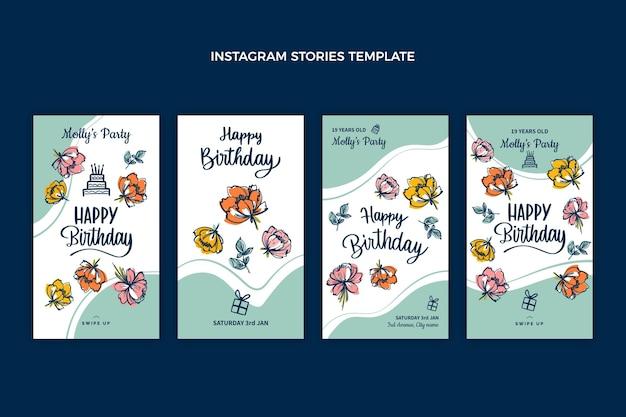 Histoires d'anniversaire plates et minimales