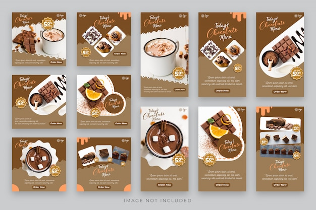 Histoires de chocolat et de gâteaux et modèle de médias sociaux post