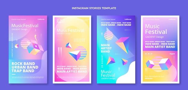 Histoires colorées du festival de musique dégradé ig