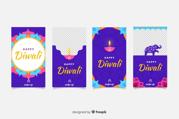 Histoires colorées d'instagram de diwali