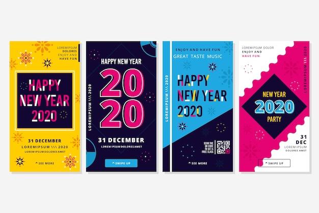Histoires colorées d'instagram du nouvel an