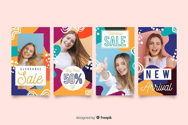 Histoires colorées d'instagram de vente abstraite avec l'image